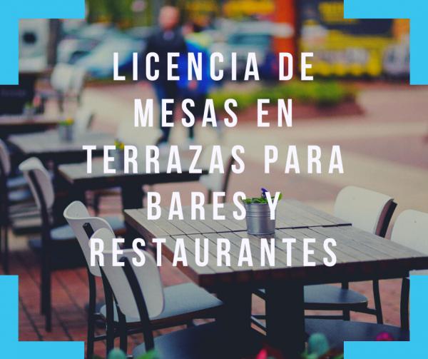 Licencia de mesas en terrazas para bares y restaurantes